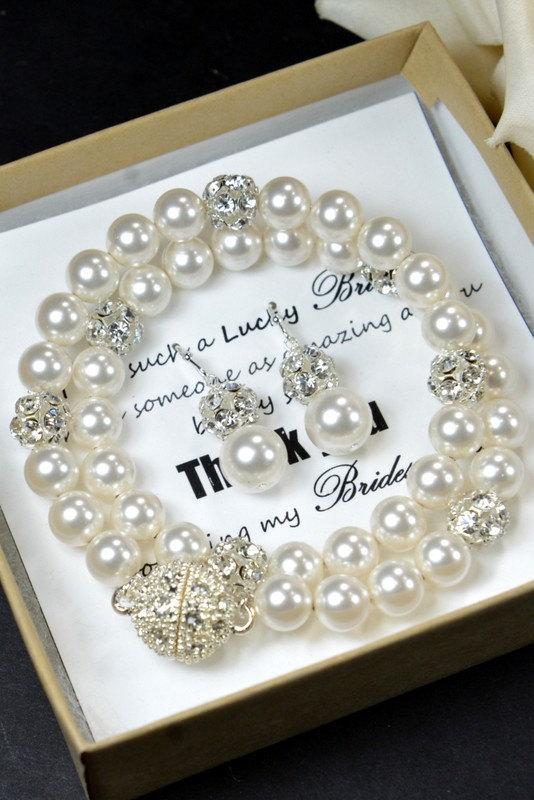 Mariage - Wedding Jewelry Bridesmaid Gift Bridesmaid Jewelry Bridal Jewelry-Set of EARRINGS & BRACELET multiple strands bridal statement