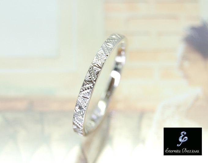Hand Engraved 14K Gold Ring Vintage Inspired Wedding Band Antique Engagement Stackable Stacking