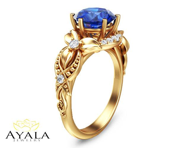Wedding - 14K Yellow Gold Blue Sapphire Ring,Alternative Engagement ring,Leaf and Flower Ring,Wedding Ring,Nature Inspired Ring,Unique Engagment Ring.