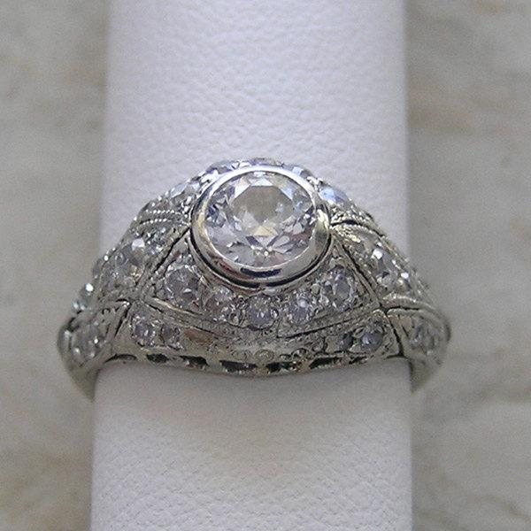 vintage antique engagement ring bezel set platinum