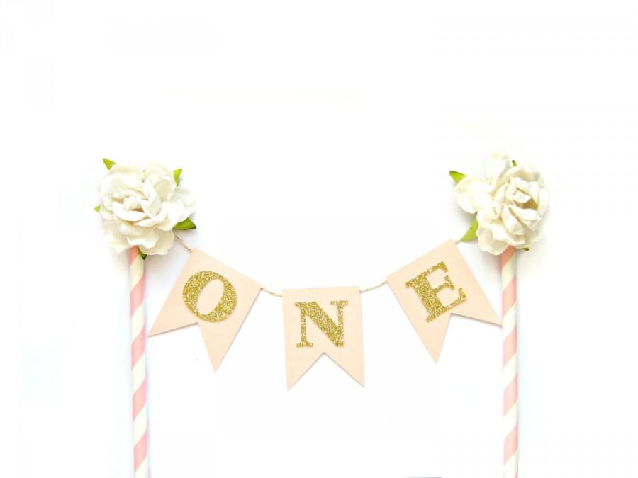 Pink Gold Birthday Cake Topper
