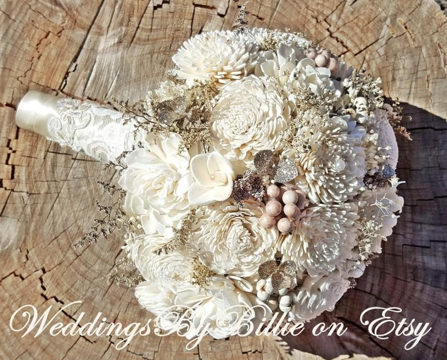 Hochzeit - Weddings, Champagne Ivory Sola Bouquet, Wedding Flowers, Rustic Wedding, Alternative Bouquet, Bridal Accessories,Keepsake Bouquet, Sola