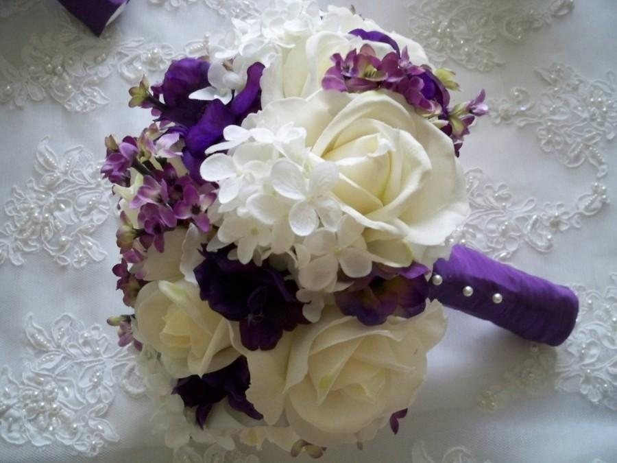 Hochzeit - Silk Flower Bridal Bouquet with Realtouch Roses and Purple Silk Anemone