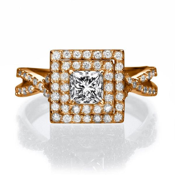 Wedding - Split Shank Halo Engagement Ring, 14K Rose Gold Engagement Ring, Halo Ring, 1 TCW Diamond Ring Band, Vintage Rings