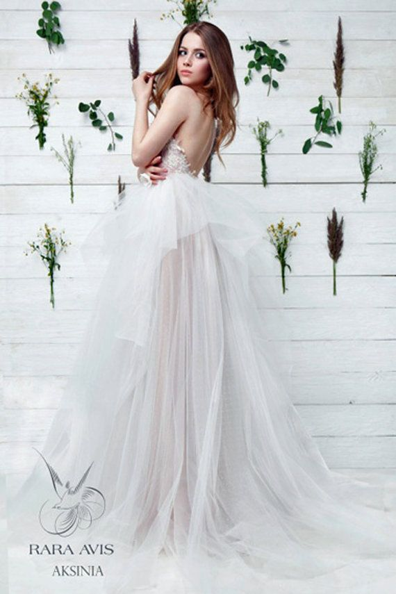 Unique Wedding Dress AKSINIA, Bohemian Wedding Dress, Tulle Wedding ...