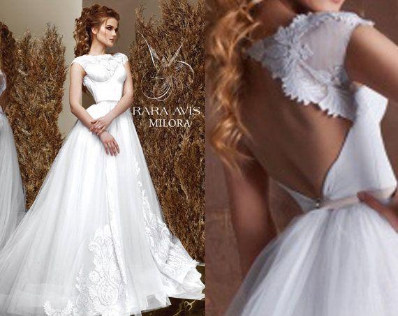 Bridal Gown MILORA, Unique Wedding Gown, Simple Wedding