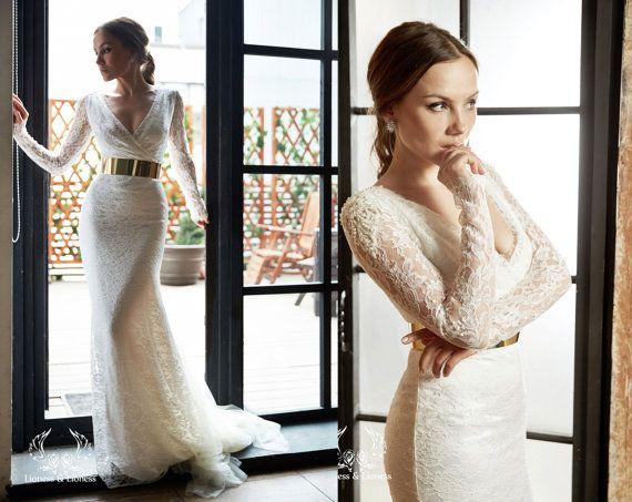 Mariage - Wedding Dress. Sexy Wedding Dress Anna. Lace Wedding Dress. Long Sleevs Wedding Dress