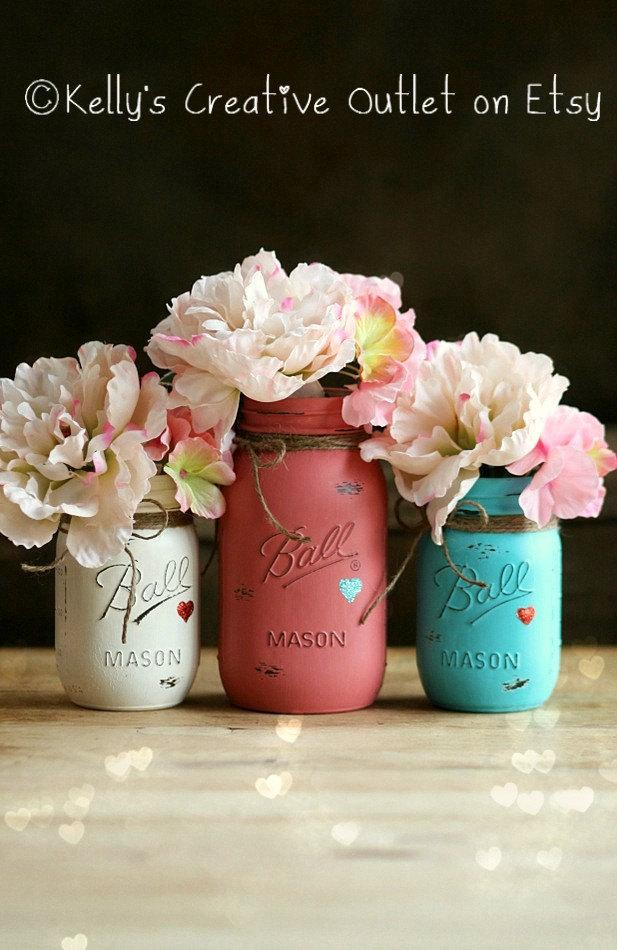 Wedding Decor Painted Mason Jar Mason Jar Decor Valentines
