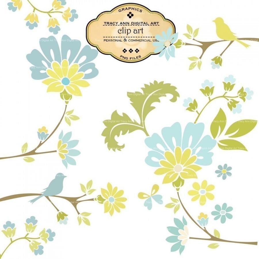 Hochzeit - Wedding Clip Art Floral clip art for wedding invites,  scrapbooking (1) Make to match.