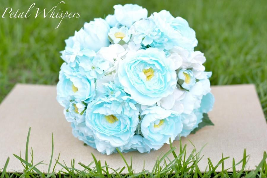 Hochzeit - Something Blue - Blue Bridal Bouquet - Hydrangea Bridal Bouquet - Wedding Flowers - Bridal Boquet - Bride And Groom Flowers