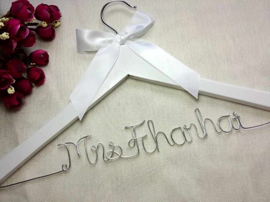 Personal Wedding Gifts For The Bride: White Hanger And Ribbon, Personalized Wedding Hanger