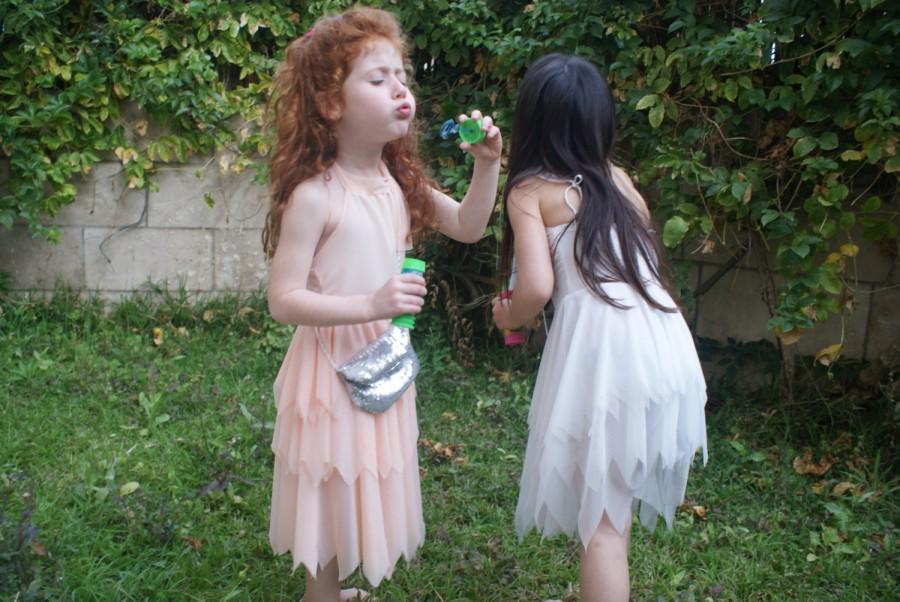 زفاف - Flower girl- peach flower Tinkerbell fairy dress