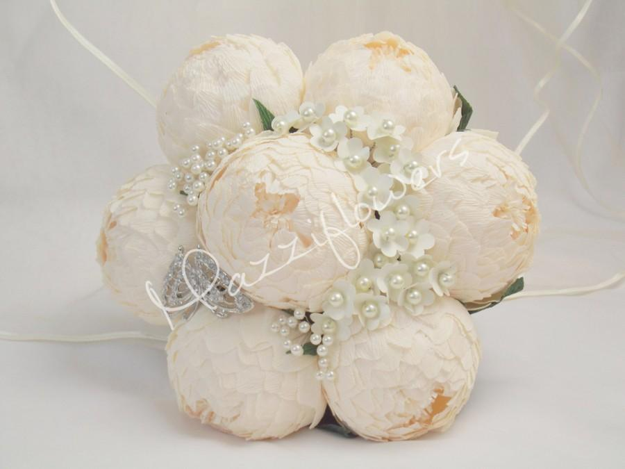 Mariage - Wedding bouquet,bridal bouquet,paper flower bouquet,brooch bouquet,paper flower peony,peonies white,bridal flower,bouquet