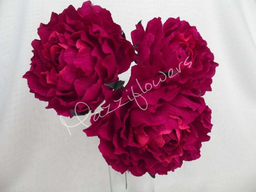 Mariage - Bridal flower,wedding flower,paper flower peonies,wedding peony,peonies bridal,bridesmaids  bouquet,bridal peony,flower paper 3 pcs.
