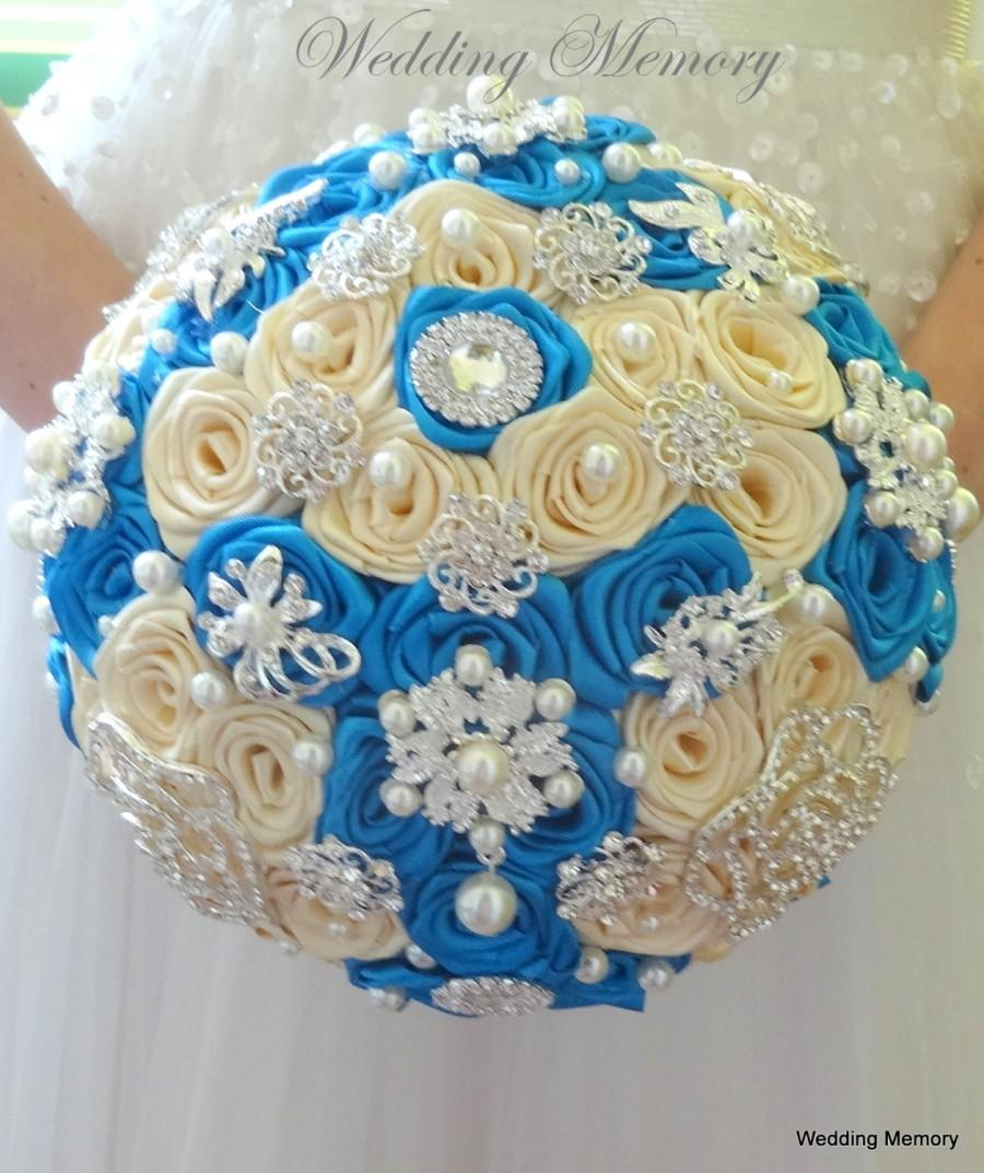 Mariage - Aquamarin, teal, turquoise, beige, ivory brooch bouquet glamour silver, wedding brooch bouquet, bridal broach bouqet, bridesmaids cheap