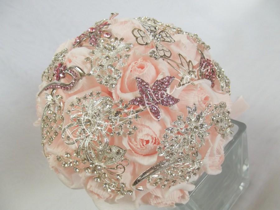Mariage - Wedding bouquet brooch, Bridal bouquet brooch,paper flower bouquet,bouquet of brooches,paper flower,rose pink,brooch bouquet.