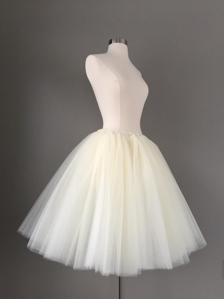 Wedding - Tulle skirt - ivory tutu- Adult Bachelorette Tutu- white tulle skirt-any color- any length