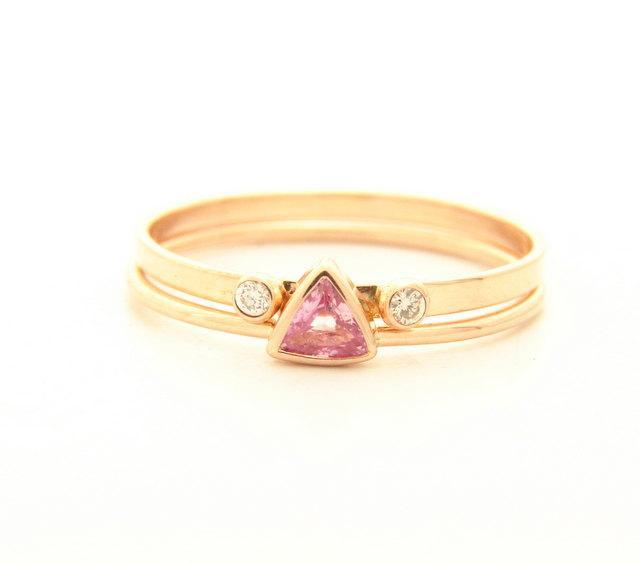 Mariage - Trillion Sapphire Ring - Diamond Stacking Ring - Gold Wedding Set - 14k Gold Ring - Gemstone Ring