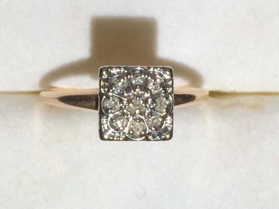 Vintage Diamond Ring Unique Engagement Ring 10K Yellow Gold