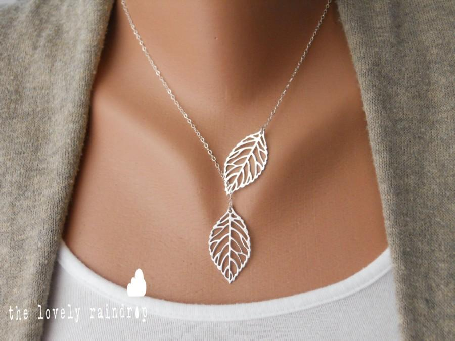 Mariage - Leaf Lariat in silver, silver jewelry, modern, dainty, lovely, gift for, christmas, birthday, lariat necklace,  Sterling Silver Chain