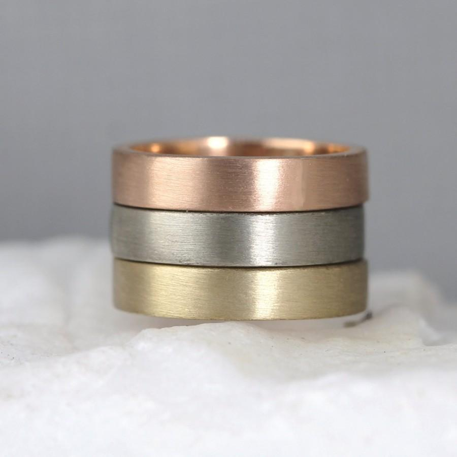 Mariage - Matte Texture 4mm 14K Gold Wedding Band - Pink Yellow or White Gold  - Mens Band - Commitment Rings - Mens Wedding Ring