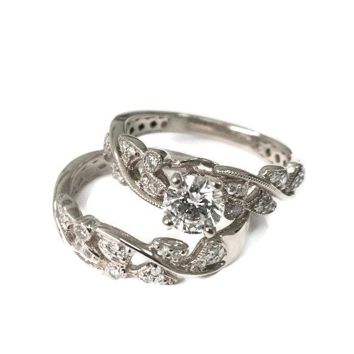Mariage - Engagement Set White Gold, Wedding Set, Wedding Ring Set, Wedding Band Set, Ring Set, Leaf Ring, Vintage Ring, Antique RIng, jewelry set