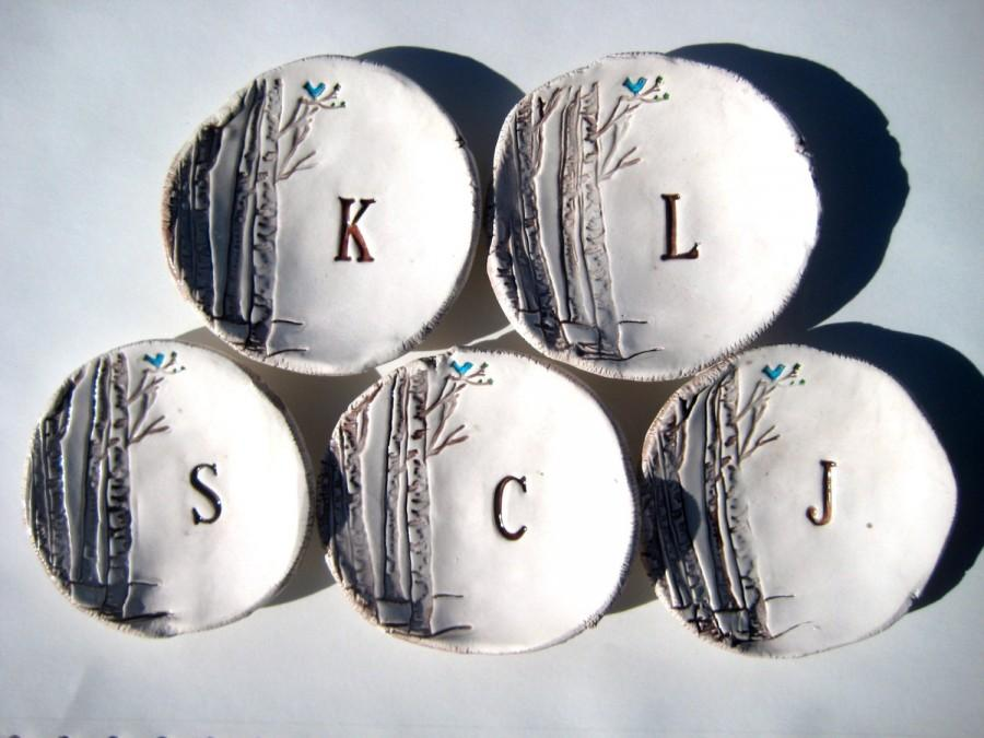 Mariage - Bridesmaid Gift Dishes Birchwood or Faux Bois with tiny Blue Bird and Initial  Set of Five (5) Dish Set NO. 21