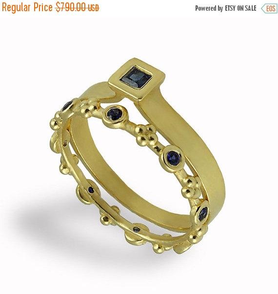 Mariage - Black Friday SALE - Sapphires Engagement and Wedding Set , Wedding Band , Bridal Ring Set , Sapphires , Engagement Ring , Matching Set , Yel