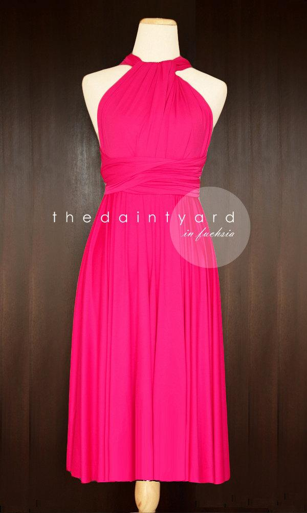 Mariage - Short Straight Hem Fuchsia Bridesmaid Dress Convertible Dress Infinity Dress Multiway Dress Wrap Dress Cocktail Evening Dress Wedding Dress
