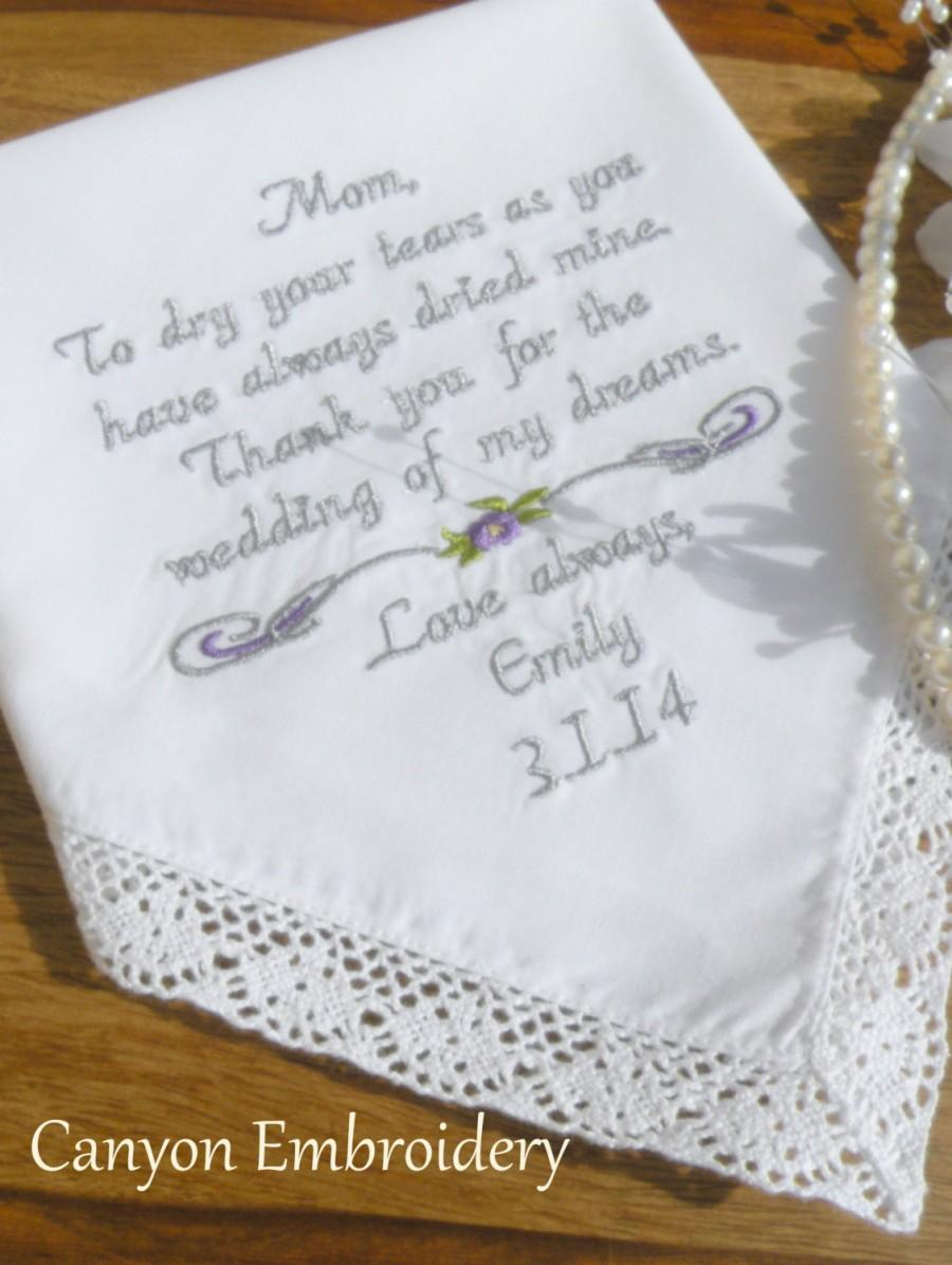 Personalized Wedding Gift Handkerchief Mother Of The Bride Or Mother