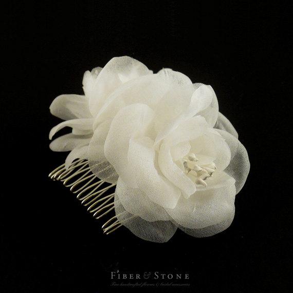Wedding - Pure Silk Bridal Flower Comb Bridal Hair Flower Bridal Headpiece Wedding Headpiece Wedding Flower Comb Bridal Hair Accessory, Fall Wedding