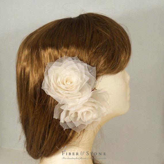 Hochzeit - Pure Silk Bridal Hair Flower, Rose Bridal Hair Piece, Bridal Headpiece, Flower Bridal Hairpiece, Bridal Hair Accessory Freshwater Pearl