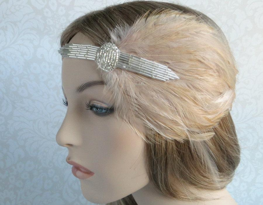 Wedding - SALE Flapper Headpiece for Flapper Dress 1920s Headband Silver Art Deco Bridal 1920s Beaded Headpiece