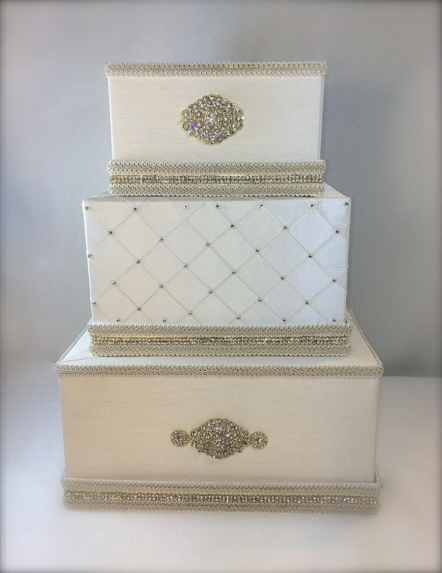 Wedding Money Box Ivory And Gold Classic Wedding Card Holder Wedding ...