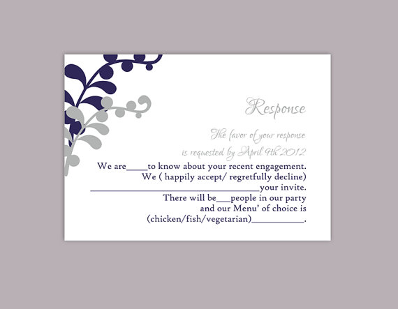 Diy Wedding Rsvp Template Editable Text Word File Printable Cards Leaf Navy Blue Card Silver