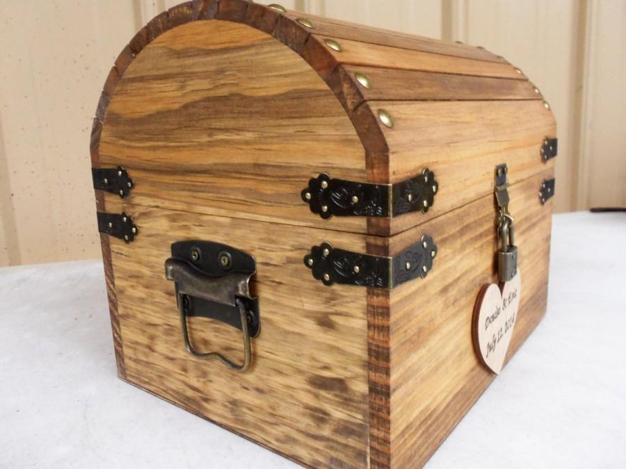 ready to ship 35 bus days wedding card box rustic wood treasure chest with card slot and lockkey set all inclusive
