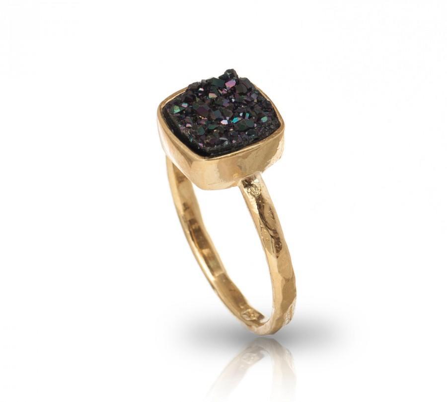 زفاف - Druzy Ring - 14k Yellow Gold Plated Over Brass Shinning Black Druze Ring Square Shape Wedding Ring
