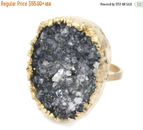 black friday raw stone engagement rings statement ring cocktail ring raw druzy gemstone ring 14k gold ring copper ring mineral ring - Stone Wedding Rings