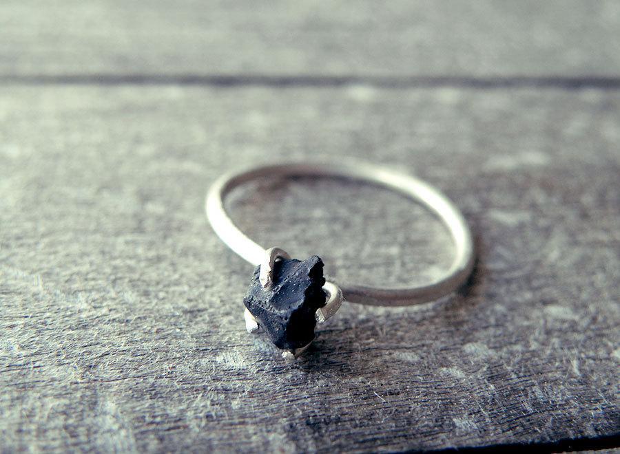 Black Onyx Ring Stacking Alternative Wedding Diamond Raw Stone Promise Goth Dainty Rough Rustic