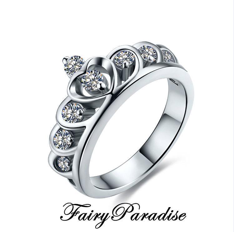 زفاف - Man Made Diamond Princess Crown Engagement Ring, Accent Tiara Promise Rings,  in Sterling Silver w gift box ( FairyParadise )