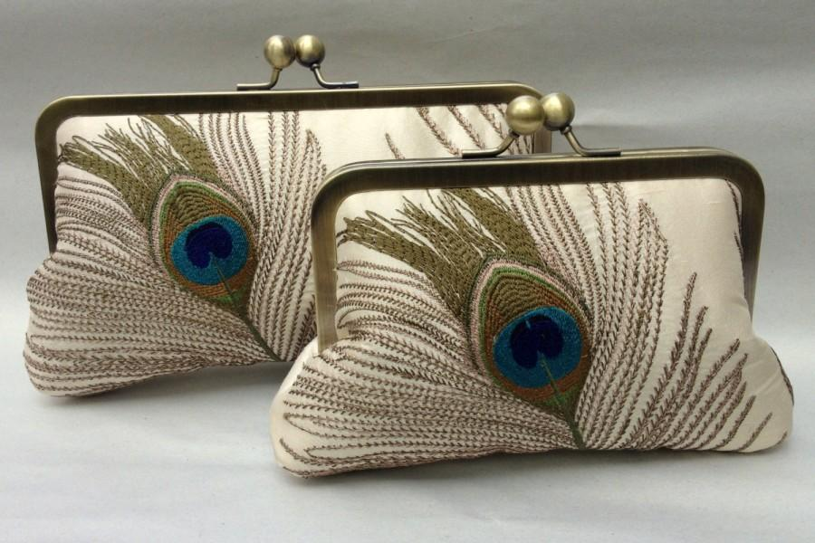 Mariage - PETITE Embroidered Peacock Clutch- (Bridal Clutch)