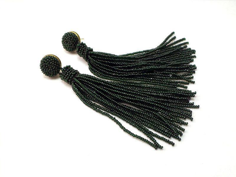 Свадьба - Beaded long tassel earrings -clip on earrings in green  - beaded tassel clip-on -statement seed beads earrings- bridesmaid earrings