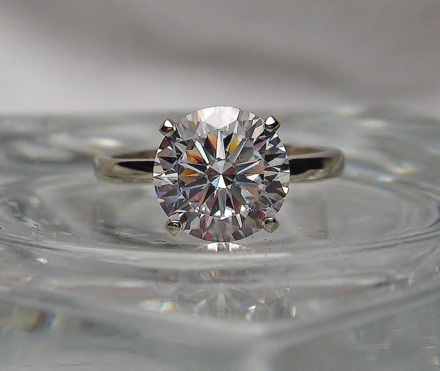 زفاف - Very High Quality Slightly Warm White Cubic Zirconia Hearts and Arrows Engagement Sterling Silver or 14k Gold Ring Made to Order