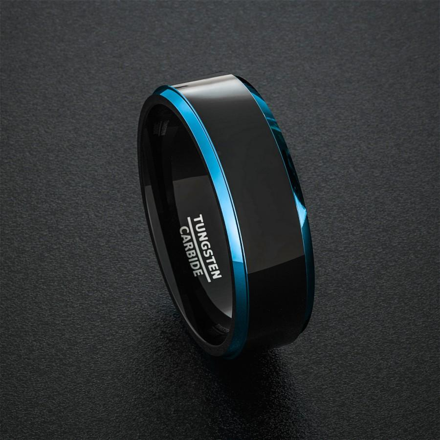 Tungsten Wedding Band Mens Ring Two Tone Blue Step Edges