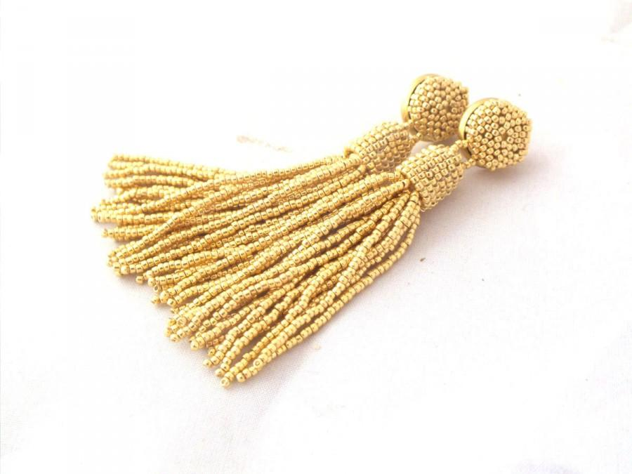 زفاف - Gold beaded bridal tassel earrings - long post earrings- statement seed beads earclip- dangle earstuds- bridesmaid earrings- beadwork