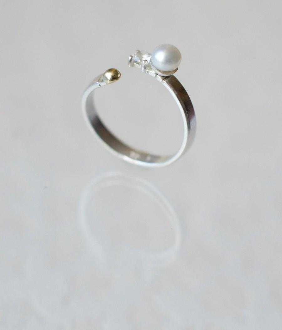 Mariage - Adjustable Sterling Silver ring with Zirconia, Pearl and 585 Gold Bead ~ Weeding Ring Engagement Ring White Pearl Clear Stone Gold Bead
