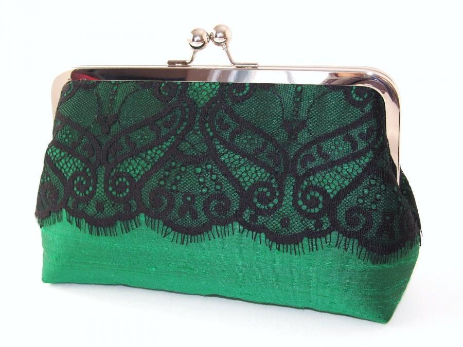 Mariage - SALE Victorian Eyelash Silk And Lace Clutch,Bridal Accessories,Emerald Green Clutch,Wedding Clutch,Bridesmaid Clutch,Holiday Clutch