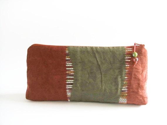Wedding - Wedding Gift Clutch, Women Fabric Bag, Red Green Handbag, Christmas Gift for Her