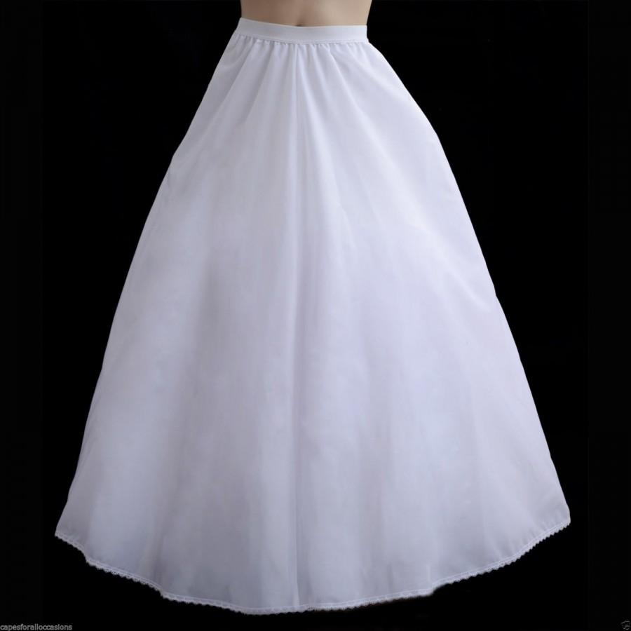 Wedding - Waist adjustable Petticoat slip underskirt crinoline dress satin for adult wedding dress pageant bridesmaid bridal recital Small large