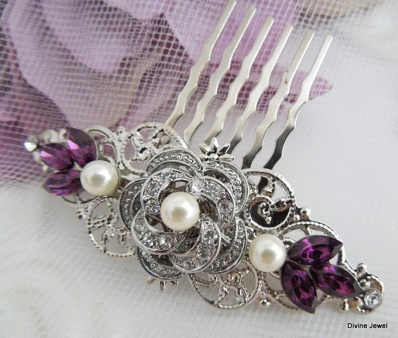 Свадьба - Pearl Hair Comb,Bridal Pearl crystal Hair Comb,Wedding Rhinestone Hair Comb,Purple Hair Comb,Ivory or White Pearl,Amethyst,Purple,ROSELANI